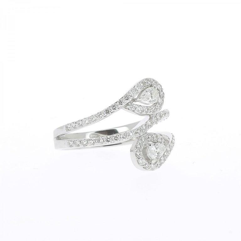 5ebbf16e12e836 Pear Cut GVS 1.01 Carat Duo Pear and Round Diamond Ring 18 Karat White Gold  Ring