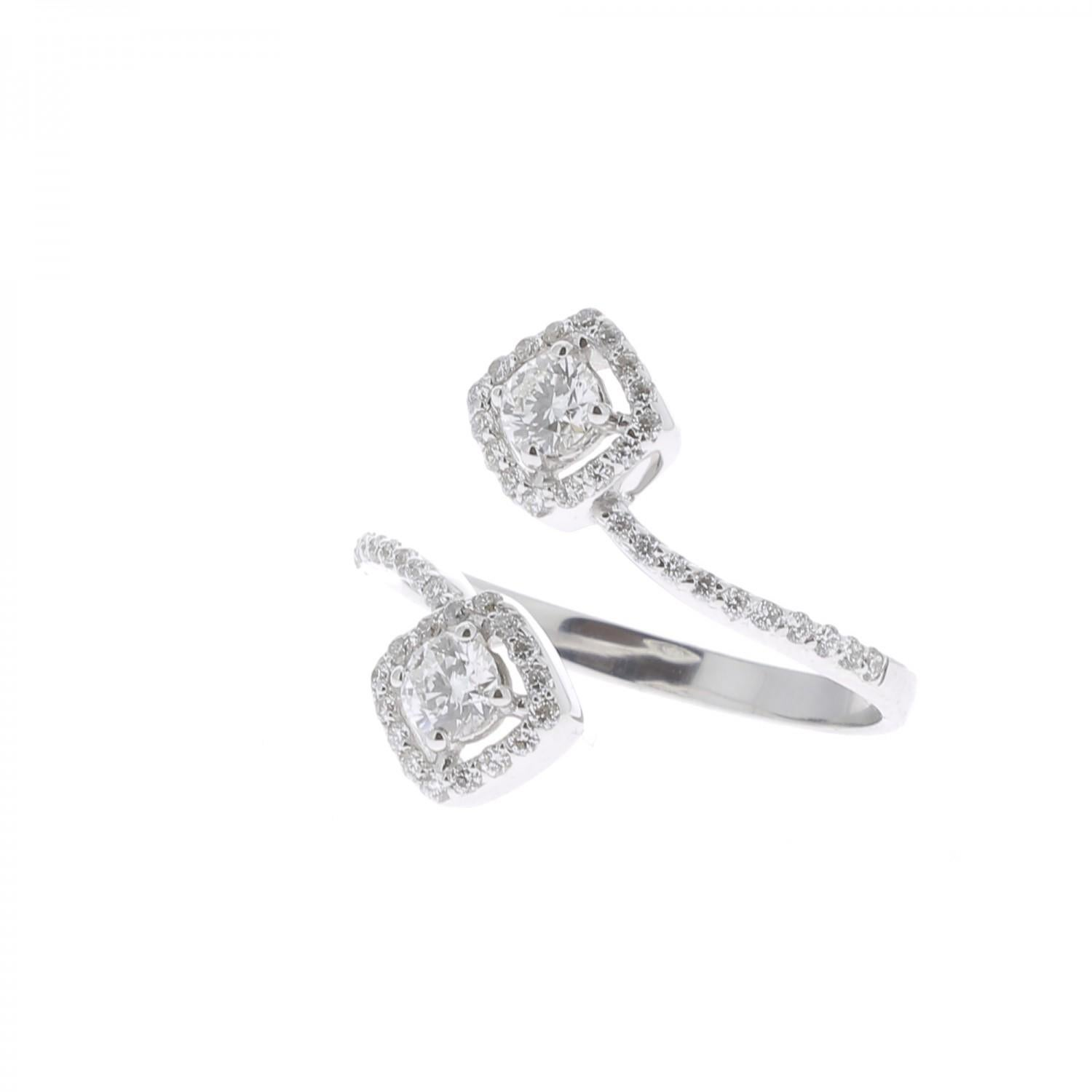 1fb719e6d247aa GVS 0.66 Carat Square Diamond Cocktail Ring 18 Karat White Gold Engagement  Rings For Sale at 1stdibs