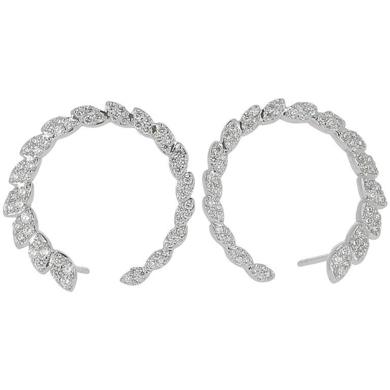 1.81 Carat GVS Round Diamond Clip-on Earrings 18K White Gold / Stud Earrings For Sale