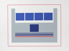 """Five Military Squares"" Minimal Abstract Serigraph with Blue, Late 20th Century"