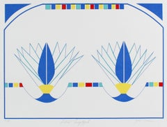 """Lotus Diptych"" Minimal Abstract Silkscreen in Blue, Circa 1980s"