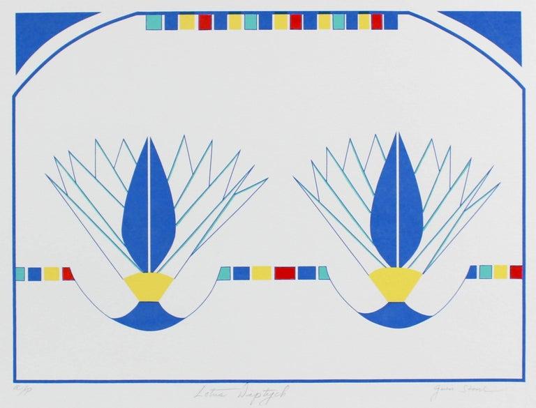 """Lotus Diptych"" Minimal Abstract Silkscreen in Blue, Circa 1980s"