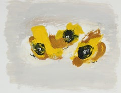"""""""M-C with Yellow"""" Abstract Monotype in Mustard Yellow Brown and Black"""