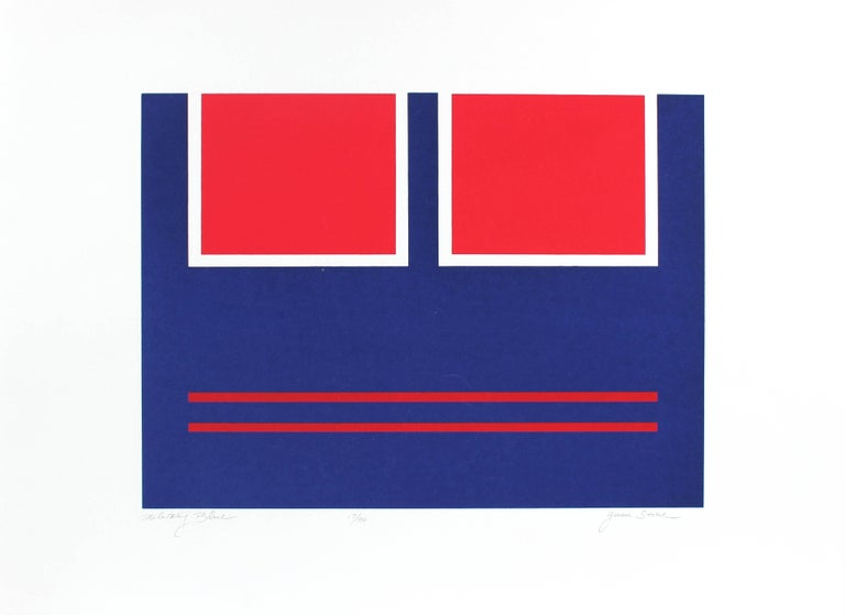 """Military Blue"" Geometric Abstract Serigraph, Circa 1978"