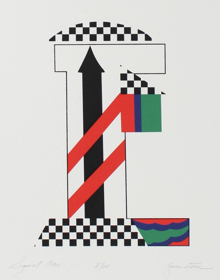 """Signal One"" Checkered Abstract Serigraph, 1978"