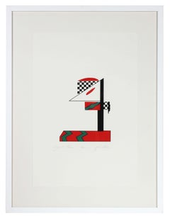 """Signal Three"", 1978 Checkered Abstract Serigraph in Red, Green, Black and White"