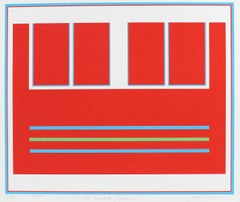 """Two Divided Squares"" Red Abstract Serigraph, 1979"