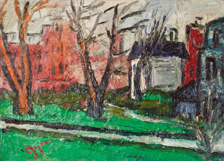 Winters Day in Kensington - Early 20th Century Impressionist Oil by Gwen Collins 1