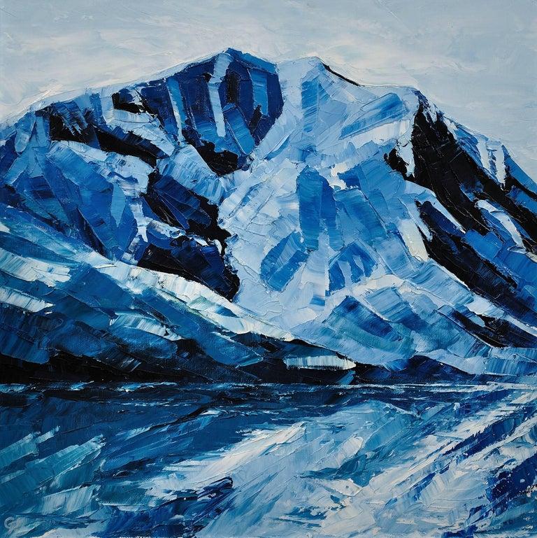 Y Garn,Eryri (Snowdonia, Wales). Welsh Artist.Original Oil Painting.Contemporary - Black Landscape Painting by Gwyn Roberts