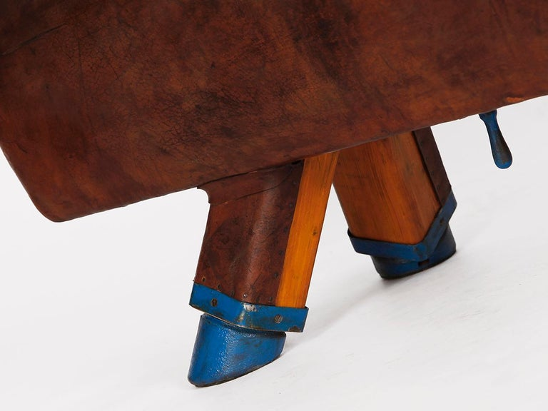 Czech Gymnastic Leather Pommel Horse Bench, 1920s For Sale