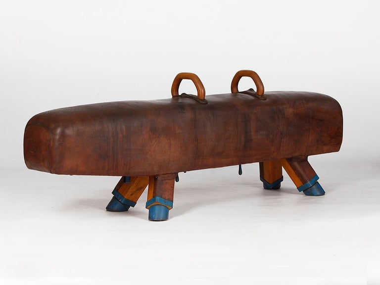 20th Century Gymnastic Leather Pommel Horse Bench, 1920s For Sale