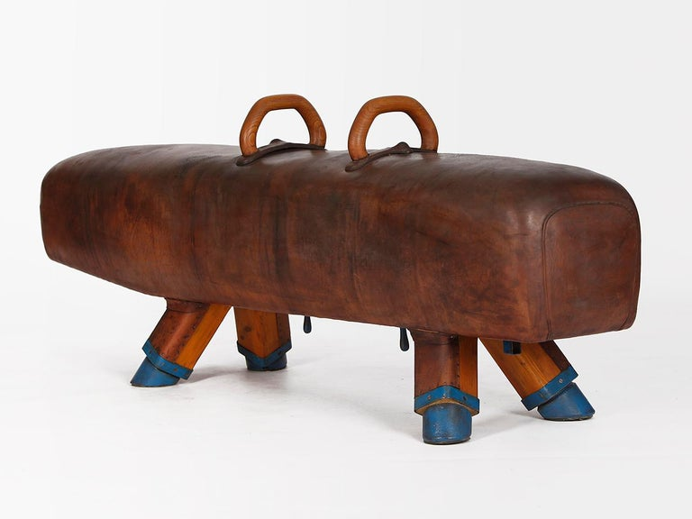 Gymnastic Leather Pommel Horse Bench, 1920s For Sale 1