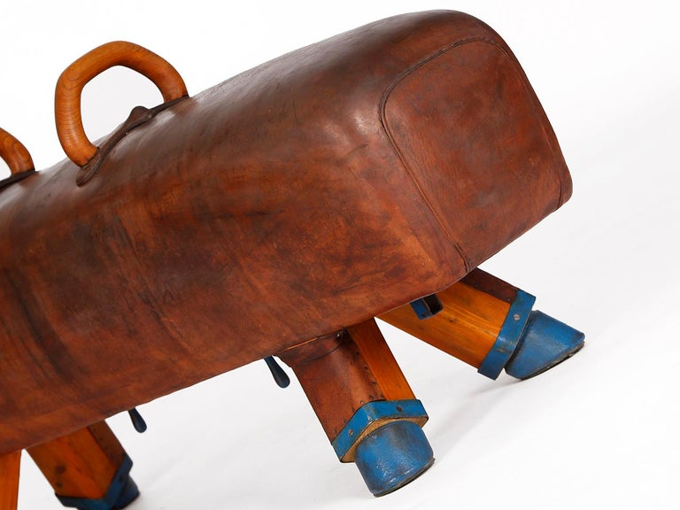 Gymnastic Leather Pommel Horse Bench, 1920s For Sale 2