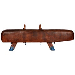 Gymnastic Leather Pommel Horse Bench, 1920s