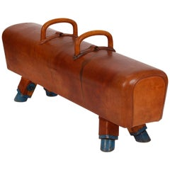 Gymnastic Leather Pommel Horse Bench, 1930s