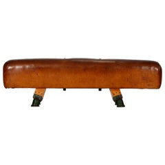 Gymnastic Leather Pommel Horse Bench, 1930s, Restored