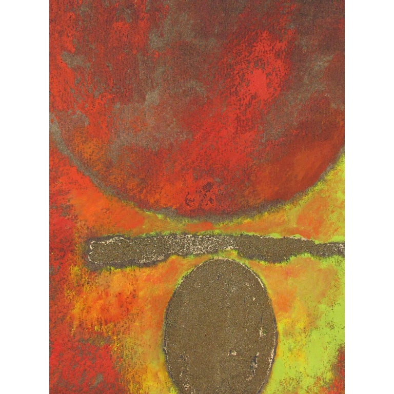 Gyorgy Kepes (1906-2001). Untitled abstract on paper Watercolor, oil and sand on paper, unsigned, unframed, red orb hovering over a horizontal band of sand with an egg shaped sand oval on a red-orange-yellow-green field and a brown-gray background,