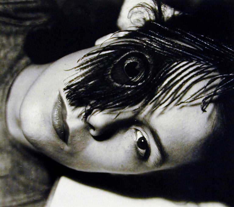 Gyorgy Kepes Black and White Photograph - Juliet with One Peacock Feather Eye, Chicago