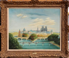 Paris Stadbild, Oil Painting by Gyorgy Stefula circa 1950