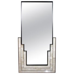 Gypsum Inlaid with Nickel Detail Wall Mirror Designed by Drake Anderson
