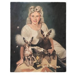 Gypsy Rose Lee Portrait in Oil on Canvas with Chinese Crested Dogs
