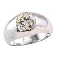Gypsy Set 1.82 Carat Diamond Platinum Gentleman's Ring