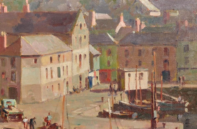 Before the Hot Day Brightens to Blue (Mevagissey Harbour, Cornwall).Original Oil For Sale 6
