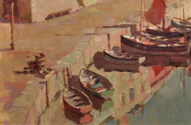 Before the Hot Day Brightens to Blue (Mevagissey Harbour, Cornwall).Original Oil For Sale 7