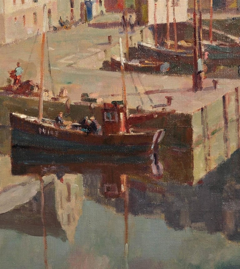 Before the Hot Day Brightens to Blue (Mevagissey Harbour, Cornwall).Original Oil For Sale 9