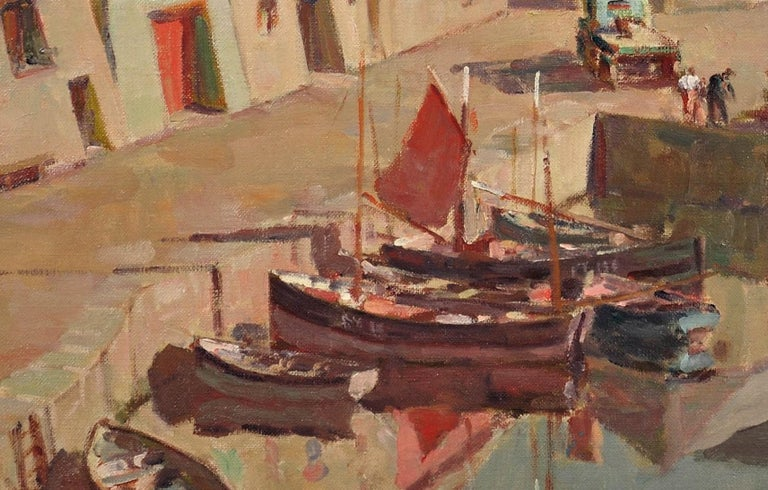 Before the Hot Day Brightens to Blue (Mevagissey Harbour, Cornwall).Original Oil For Sale 10