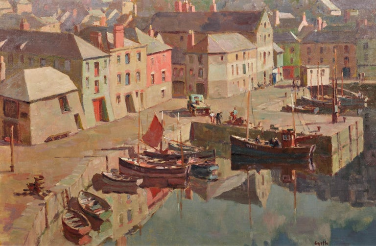 Before the Hot Day Brightens to Blue (Mevagissey Harbour, Cornwall).Original Oil - Painting by Gyrth Russell