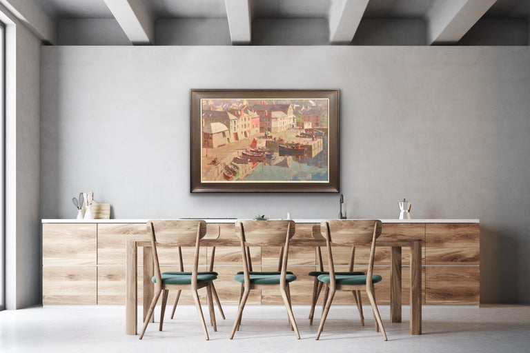This original oil painting by Gyrth Russell, dating from post WWII,  is presented and supplied in a 1960s frame (which is shown in these photographs).   The frame dimensions are 72.5cm high x 103cm wide. The visible painting dimensions are 57cm high