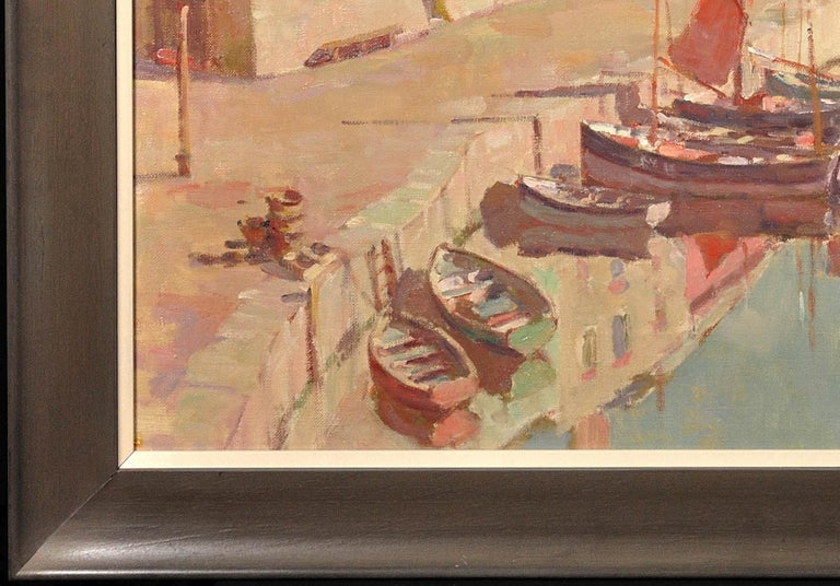 Before the Hot Day Brightens to Blue (Mevagissey Harbour, Cornwall).Original Oil For Sale 3