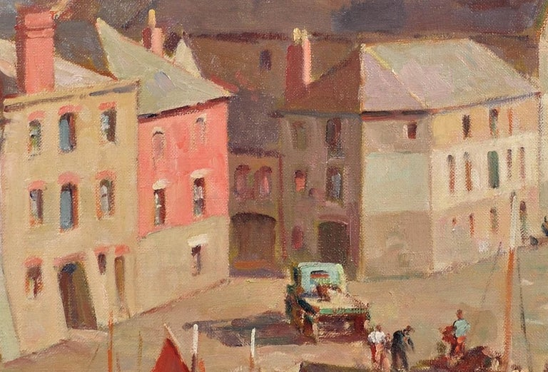 Before the Hot Day Brightens to Blue (Mevagissey Harbour, Cornwall).Original Oil For Sale 4