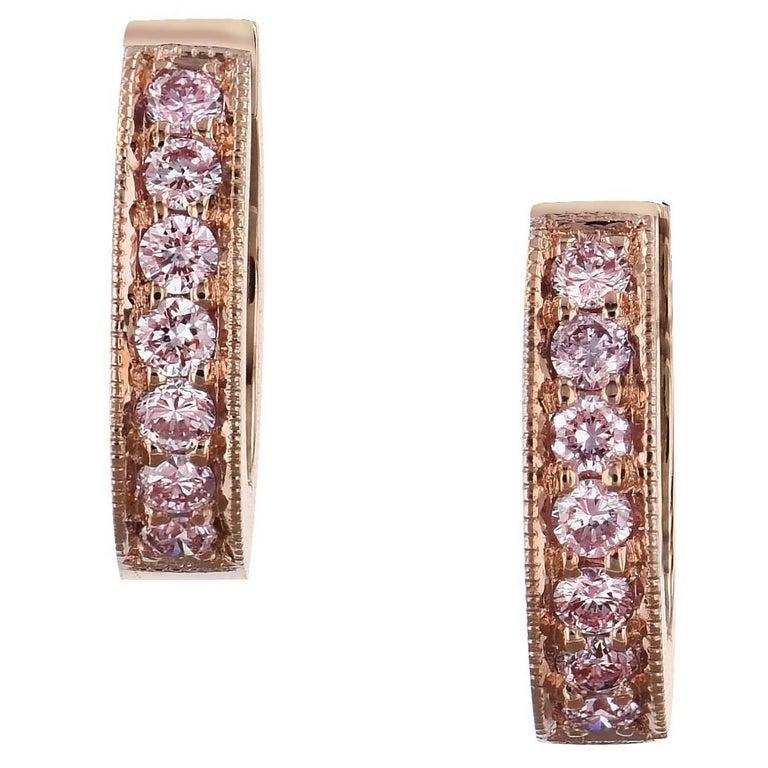 H & H 0.29 Carat Pink Diamond Rose Gold Hinged Hoop Earrings