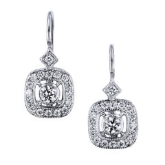H & H 0.38 Carat Diamond Lever-Back Earrings