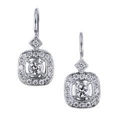 H & H 0.38 Carat Diamond Lever-Back Earrings