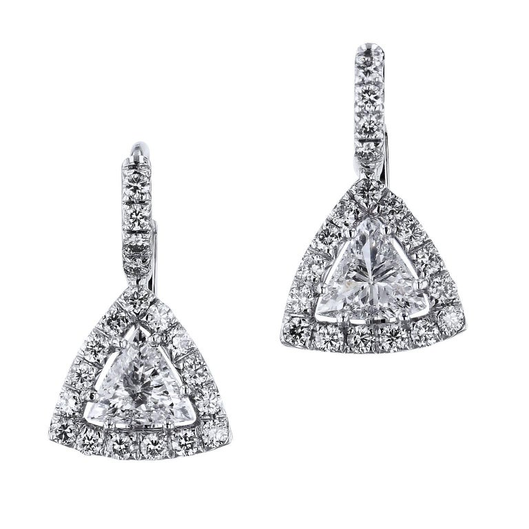 H 0 80 Carat Trillion Cut Diamond Lever Back Earrings For
