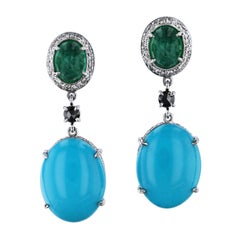 H & H 12.72 Carat Turquoise and 2.32 Carat Emerald Dangle Earrings