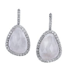 H & H 14.43 Carat White Sapphire Slice Lever-Back Earrings