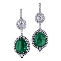 15.64 Carat Zambian Tear Drop Emerald and 1.05 carat of Diamond Earrings 18 kt