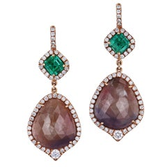 H & H 20.00 Carat Light Brown Sapphire and Colombian Emerald Dangle Earrings