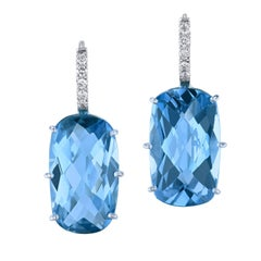20.34 Carat Blue Topaz with Diamond Pave Earrings in 18 Karat White Gold