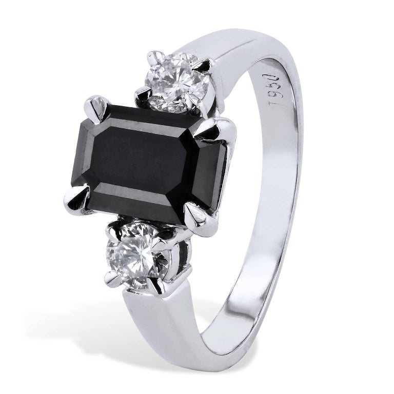 2.34 Carat Emerald Cut Black Diamond Engagement Ring Handmade by H&H Jewels  In New Condition In Miami, FL