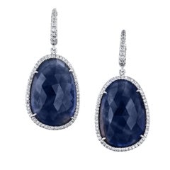 32.27 Carat Blue Sapphire and Pave Diamond Drop Earrings in 18 karat White Gold