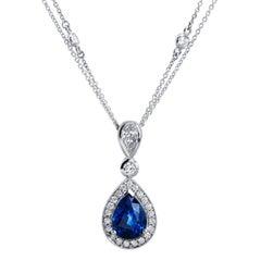 H & H 4.16 Carat Pear-Shaped Blue Sapphire Pendant Necklace