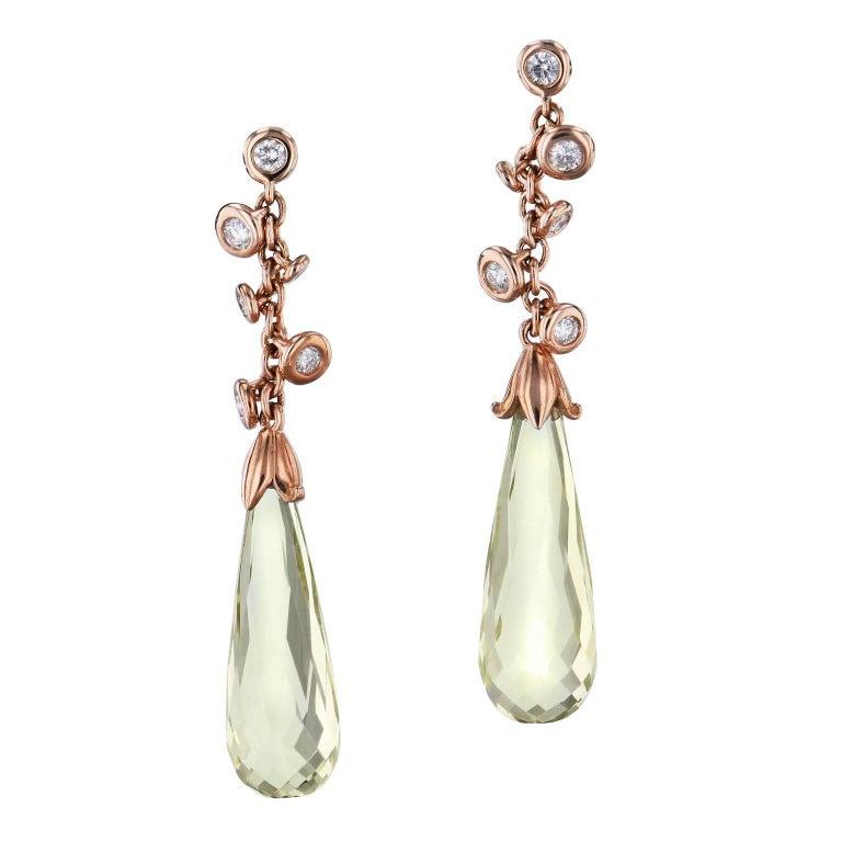 H & H Lemon Quartz Briolette Dangle Earrings