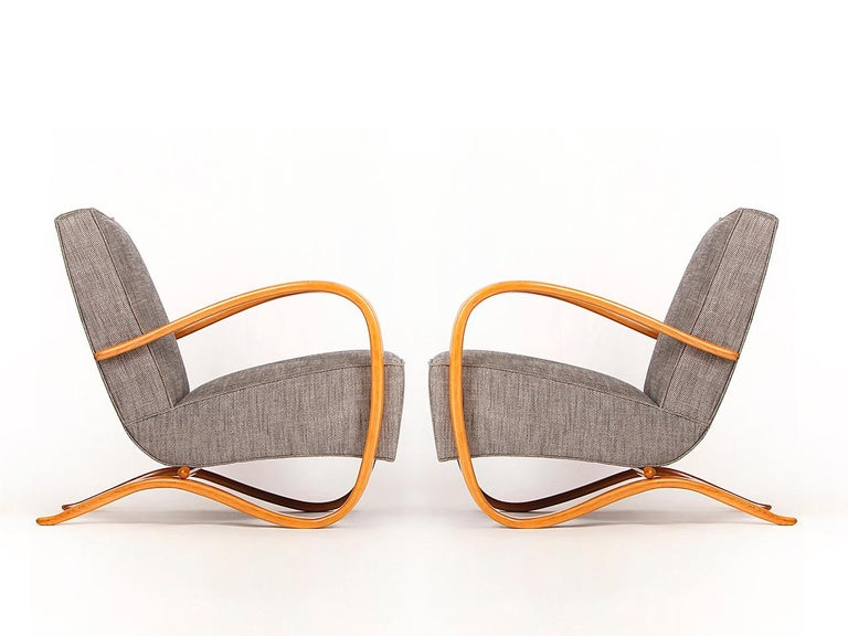 Mid-Century Modern H 269 Streamline Chairs by Jindrich Halabala for UP Zavody, 1930s, Set of Two
