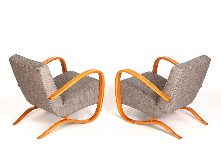 Czech H 269 Streamline Chairs by Jindrich Halabala for UP Zavody, 1930s, Set of Two