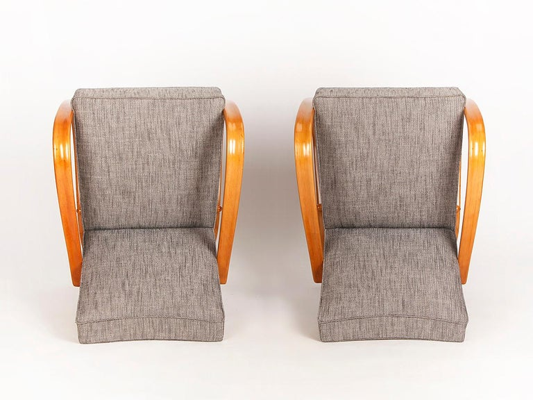 H 269 Streamline Chairs by Jindrich Halabala for UP Zavody, 1930s, Set of Two In Excellent Condition In Wien, AT